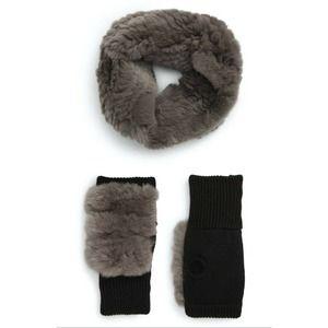 JOCELYN Genuine Rabbit Fur Cowl & Mitten Set